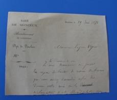 1871 Mairie De Monieux 84 Manuscrit  Trouvé Dans-Cahier D'école De Cécile De Bernardi - Manuscripts