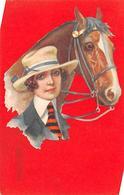 Sport.   Hippisme :       Une Femme Et Son Cheval      Carte Dessinée   Par Colombo   (voir Scan) - Horse Show