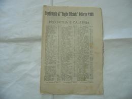 SUPPLEMENTO AL FOGLIO UFFICIALE PRO SICILIA E CALABRIA1909 BORDO PAGINE ROVINATO - Religion