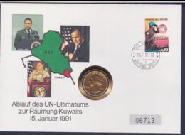 United Nations Coin Cover 1991 Ablauf Des UN Ultimatums Zur Räumung Kuwaits + US Quarter Dollar. Weight 50 Gram - Munten