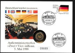 Deutschland  Numisbrief 1990 Aussenministertreffen Zwei + Vier In Bonn + 50 Pf Münze. Weight 50 Gram (G109-65) - Munten