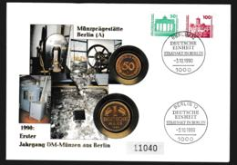 Deutsche Post Coin Cover 1990 Deutsche Einheit W/1 DM + 50 Pf Erster Jahrgang DM-München Aus Berlin. Weight - Munten