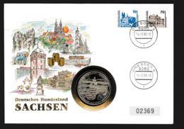 Deutsche Post Numisbrief 1990 Dresden Deutsches Bundesland Sachsen + Medailje 6. Weight 50 Gram (G110-56) - Munten