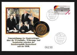 Berlin Coin Cover 1990 Unterzeichung Des Staatsvertrages Zwischen BRD Und DDR + 2DM BRD Coin - Munten