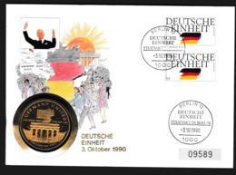 Berlin Coin Cover 1990 Deutsche Einheit + 5 Dollars Marshall Islands. Weight 50 Gram (G110-56) - Munten
