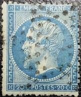 N°22. Variétés (tâche Blanche Devant Le Front Et Sur Le P De Poste). Oblitéré étoile De Paris Muette - 1862 Napoléon III