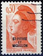 458 LIBERTE De GANDON 0,30 Orange  OBLITERE Année  1986 - St.Pierre & Miquelon