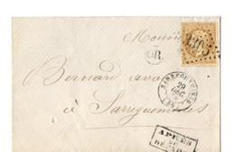 B19 1854 ??  Lettre Sarreguemines Cachet OR Et Cachet APRES LE DEPART - 1849-1876: Klassik
