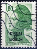 462  LIBERTE De GANDON 1,80 Vert  OBLITERE Année  1986 - St.Pierre & Miquelon