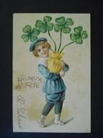 Petit Garçon élégant Portant Un Pot De Trèfles - Gaufrée - Série 3720 - Enfants