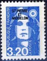 520 Marianne BRIAT à 3,20 Bleu NEUF* Sans Gomme   Année  1990 - St.Pierre Et Miquelon