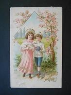 Enfants Portant Agneau Et Bouquet De Violettes Dans Paysage Campagne - Dorure - Gaufrée - Série 328 - Enfants