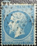 N°22. Variétés (Point Blanc Dans L'écusson, Voir Le E De Poste Et Sous Le Menton). Oblitéré étoile De Paris Muette - 1862 Napoléon III