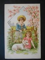 Petite Fille Assise Avec Mouton Et Petit Garçon Appuyé Sur Barrière Dans Paysage Campagne - Dorure - Gaufrée - Série 328 - Enfants
