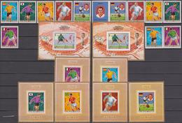 Ajman 1970 Mi # 5525-30 AB 525-30 Einzelblocks Bl 189AB Mexico 1970 FIFA World Cup (I), 1968 Mexico City Summer Olympics - Fußball-Weltmeisterschaft