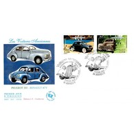 FDC JF - Voitures Anciennes. Renault 4 CV Et Peugeot 203 - 5/5/2000 Annecy - FDC