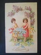 Enfants Portant Grande Corbeille Dorée Pleine De Myosotis, Branches De Lilas - Dorure - Gaufrée - Série 526 - Enfants