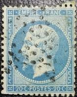 N°22. Variétés (Voir Perle Sous La Lettre A De Franc). Oblitéré étoile De Paris Muette - 1862 Napoléon III