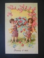 Enfants Portant Grande Corbeille Pleine De Myosotis Et Roses, Fleurs Roses - Gaufrée - Série 526 - Enfants
