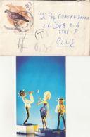 DOLLS PLAYING MUSIC POSTCARD, EUROPEAN TURTLE DOVE BIRD STAMP ON LILIPUT COVER, 1967, ROMANIA - 1948-.... Republieken