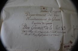 PLAN GÉOMÉTRIQUE DE LA SECTION C DE GRASSE ALPES MARITIMES ANCIENNE COPIE DATÉE DE 1966 CARTE GÉOGRAPHIQUE - Mapas