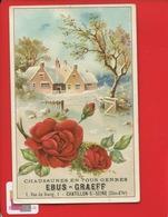 Châtillon Sur Seine Côte-d'Or Chaussures Magasin  Ebus Graeff  1, Rue Du Bourg Superbe Chromo Relief Village Hiver Rose - Chromos