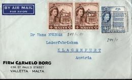 ! 1950 Airmail Letter From Malta To Klagenfurt, Austria - Malta