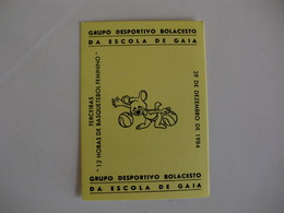 Sports Basketball Basquetebol Grupo Desportivo Bolacesto Da Escola De Gaia Portugal Portuguese Pocket Calendar 1985 - Calendars