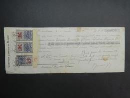 1920 Maroc Fiscal : Timbres Fiscaux 25, 40 C Traite Comptoir Lorrain Camille Bonnafous - Morocco Revenue Stamps On Draft - Otros