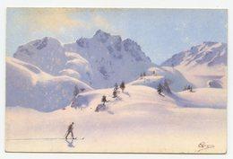 Pellegrini.sport De Neige.skieurs En Montagne. - Illustratori & Fotografie