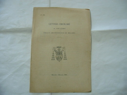 LETTERA CIRCOLARE AL VENERANDO CLERO ARCHIDIOCESI DI MILANO 1908. - Religion
