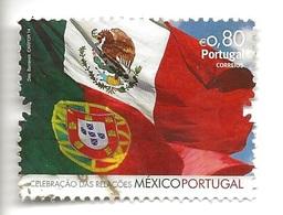 TIMBRES- STAMPS - SELLOS - FRANCOBOLLI - MARCOPHILIE -  PORTUGAL - 2014 - DRAPAUX MÉXICO ET PORTUGAL - TIMBRE OBLITÉRÉ - Vlag