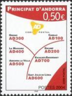 ANDORRA FRANCESA 2004 - CODIGOS POSTALES - YVERT Nº  601 - Ongebruikt