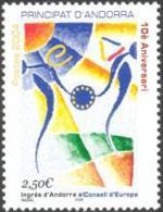 ANDORRA FRANCESA 2004 - 10º ANIVERSARIO DEL INGRESO AL CONSEJO DE EUROPA  - YVERT Nº  602 - Ongebruikt