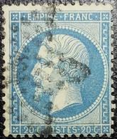N°22. Variétés (Point Blanc Dans E De Poste) Oblitéré étoile De Paris N°4 - 1862 Napoléon III
