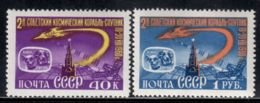 Russia / Soviet Union 1960 Mi# 2390-2391 ** MNH - Flight Of Sputnik 5 / Space Dogs Belka And Strelka - Ruimtevaart