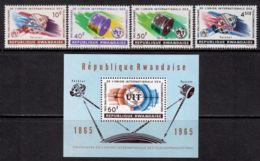 Rwanda 1965 Mi# 114-117, Block 4 A ** MNH - ITU, Cent. / Space - Ruimtevaart