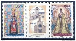 ANDORRA FRANCESA 2007 - HERMANAMIENTO MERITXELL CON SABART - VIRGENES - 2 SELLOS CON VIÑETA CENTRAL - Ongebruikt