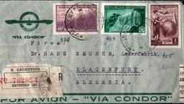 ! 1939 Airmail Letter Via Condor From Buenos Aires, Argentina To Klagenfurt , Austria, Einschreiben, Devisenüberwachung - Covers & Documents