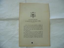 NOTIFICAZIONE AL VENERABILE CLERO DELLA DIOCESI DI MILANO 1897. - Religion