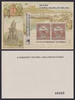 100 Years TURUL - Danube Chain Bridge STEAMER 2000 MABÉOSZ Federation Hungary Philatelists Commemorative Stamp On Stamp - Commemorative Sheets