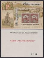 TURUL Stamp On Stamp STEAMER Steamship Danube Chain Bridge 2000 MABÉOSZ Federation Hungary Philatelists Commemorative - Postzegels Op Postzegels