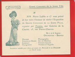 FEMINA Carton Invitation Grand Concours De La Jeune Fille Pierre Laffitte Galerie De La Charité Rue Pierre Charron Paris - Tickets D'entrée