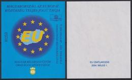 EU HUNGARY Member European Union 2004 MABÉOSZ Philatelists Commemorative MAP FLAG Hunfila 2004 Veszprém Exhibition - Commemorative Sheets