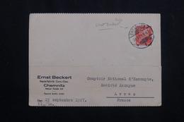 ALLEMAGNE - Affranchissement Perforé Sur Carte Commerciale De Chemnitz Pour La France En 1927 -  L 62016 - Storia Postale