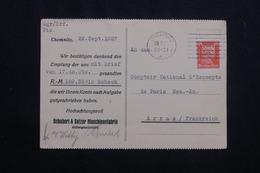 ALLEMAGNE - Affranchissement Perforé Sur Carte Commerciale De Chemnitz Pour La France En 1927 -  L 62017 - Storia Postale