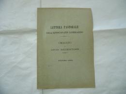 LETTERA PASTORALE DELL'EPISCOPATO LOMBARDO OMAGGIO AL DIVIN REDENTO MILANO 1900 - Religion