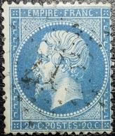 N°22. Variétés (Impression Point Blanc Manquant Cartouche Inférieur). Oblitéré étoile De Paris N°27. Superbe... - 1862 Napoléon III
