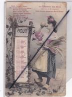 Thème Calendrier Mois D' Aôut ;jeune Femme Avec Gerbe De Blé -La Chanson Des Mois - Otros