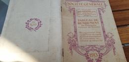 BANQUE SOCIETE GENERALE /TABLEAU RENDEMENT VALEURS DE LA BOURSE /1913 - Advertising